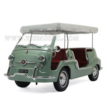 菲亚特600 敞篷 汽车模型 1:18 优客 绿色