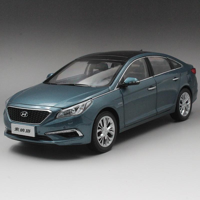 原厂1:18北京现代 索纳塔9代 银蓝色 合金汽车模型 车模 1017036
